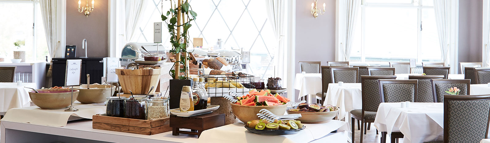 The delicious breakfast buffet is also included in hotel accommodation at Hotel Vejlefjord